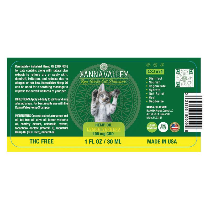 Ingredientes aceite de CBD para gatos de KannaValley