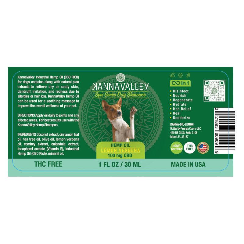 Ingredientes aceite de CBD para perros de KannaValley