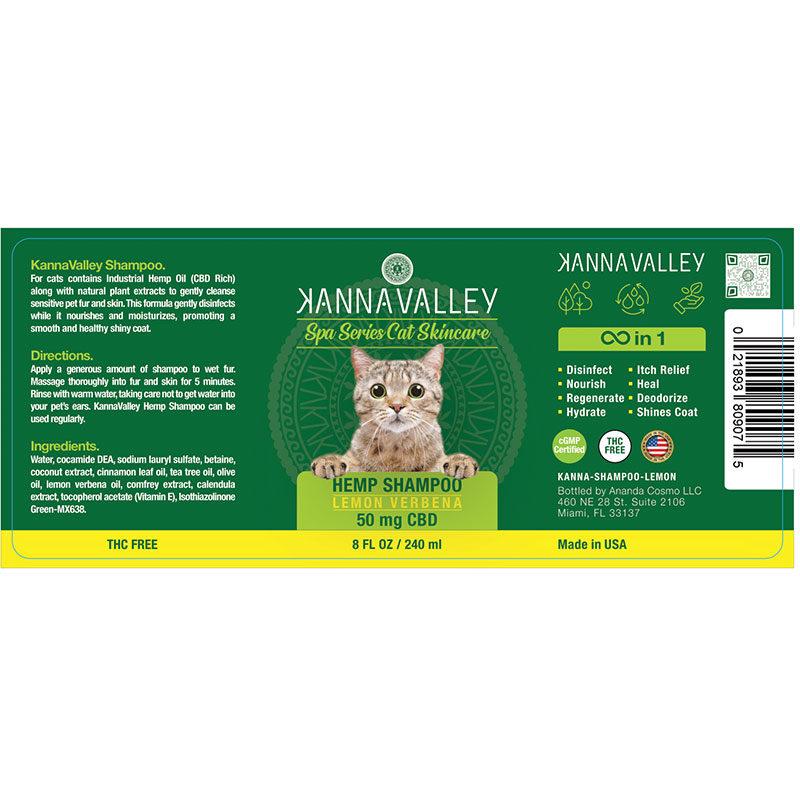 Ingredientes champú de CBD para gatos de KannaValley